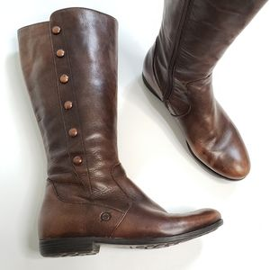 BORN Sage Tall Brown Leather Side Zip Boots